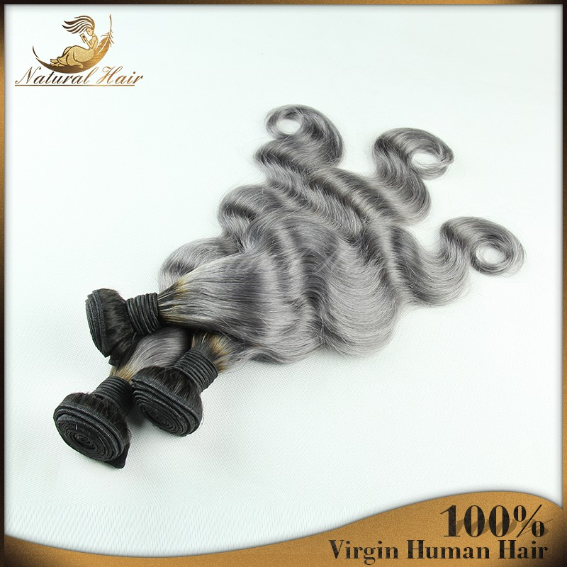 New Fashion 7A 1B/Grey Silver Ombre Brazilian Virgin Hair Weave 3 Bundles With Lace Closure Body Wave Ombre Human Hair Extension