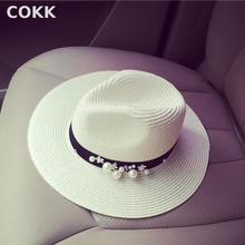 COKK New Spring Summer Hats For Women Flower Beads Wide Brimmed Jazz Panama Hat Chapeu Feminino Sun Visor Beach Hat Cappello(China (Mainland))