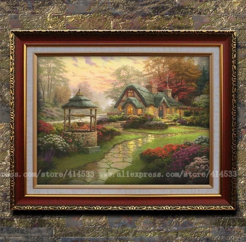 Thomas kinkade prints of oil painting make a wish cottage - Home interiors thomas kinkade prints ...