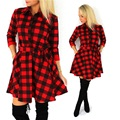 Autumn Spring Women 3 4 Sleeve Vintage Plaid Dress Casual Fit and Flare Printed Shirt Dresses