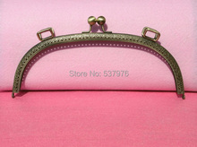 new 2014 25cm embossed arced bronze color metal coin purse frames handle women clutch bags accessories 10pieces/lot freeshipping(China (Mainland))