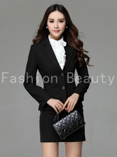 New Plus Size 3XL Uniform Style High Quality Business Work Wear Suits Blazer And Skirt For Ladies Office Beautician Fall Set