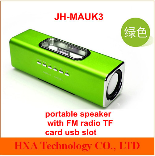 1mp3 music sound box FM radio ,usb tf card slot stereo speaker ,portable usb JH-MAUK3 iphone ipod
