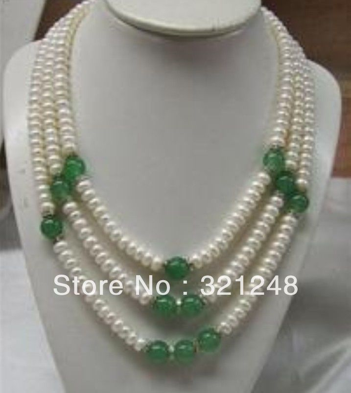Free shipping diy charming 3 rows 7-8mm natural white freshwater cultured round pearl green jade necklace beads jewelry MY2327(China (Mainland))