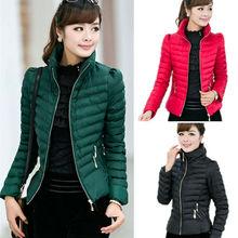 2015 nueva otoño invierno básica chaqueta de algodón acolchado mujeres capa corta delgada de la cremallera abrigo calle ocasional Outwear PlusSize 3XL(China (Mainland))