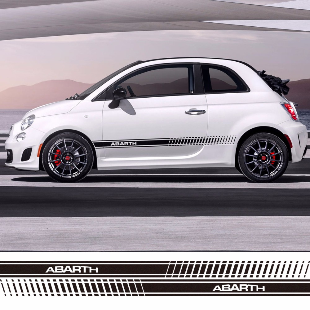 Car side sticker design - Abarth Words Sport Style Car Side Down Skirt Vinyl Stickers For Fiat Fashion Car Styling