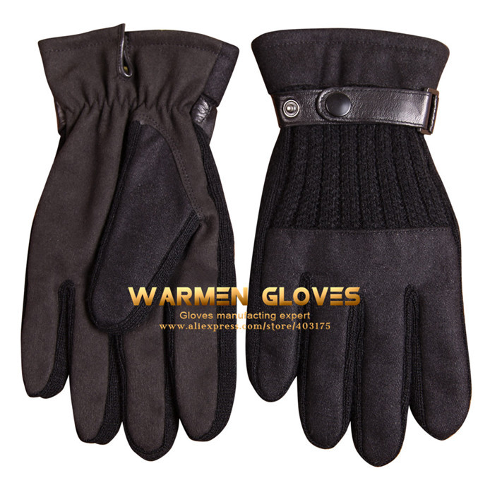 Warmen Men's Touchscreen Texting Gloves Genuine Leather Belt - Super Warm Gloves(China (Mainland))