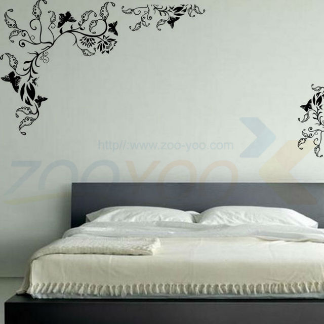 Черный цветы цитата стена наклейка 8006 украшение adesivo де parede съёмный винил стена наклейка