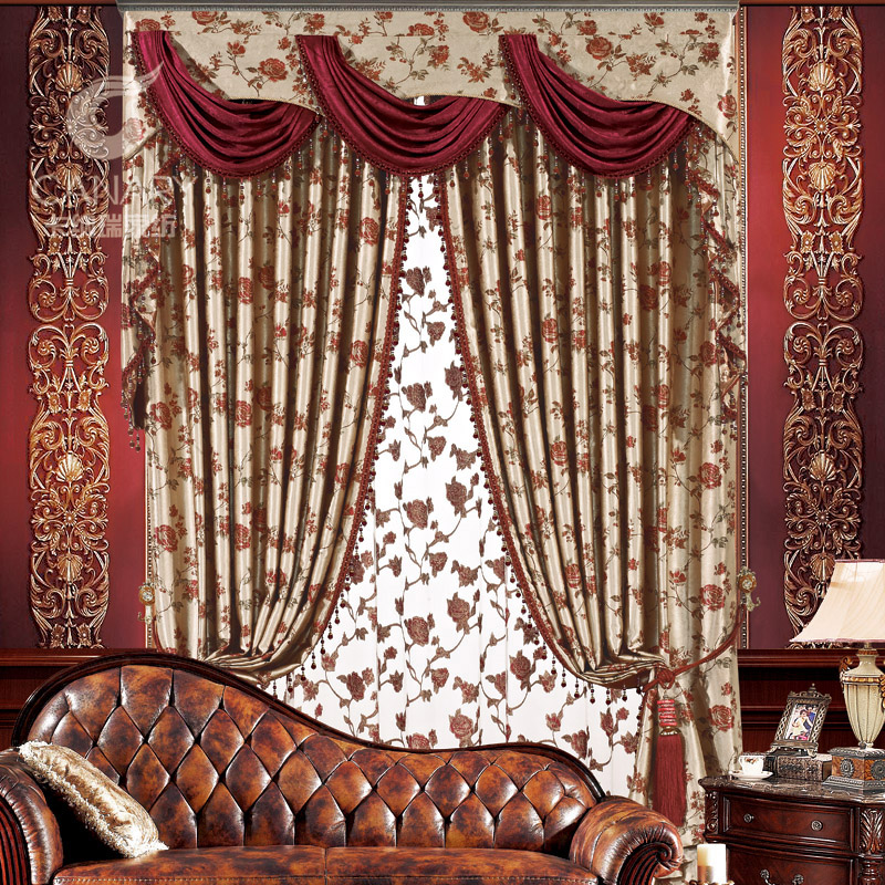 luxury fashion europe gauze curtains blackout home decor