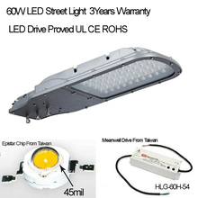 High Quality 3 Years Warranty  Street Light LED Fixture  IP65 110-277V 60W 130lm/W 3000K 4000K 6000K Available Free Shipping(China (Mainland))