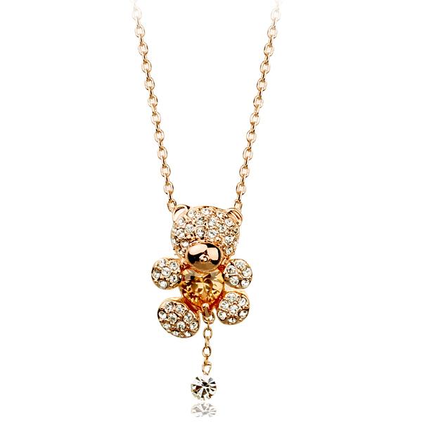 2015 fahion 18K Rose Gold Plated Rhinestones Heart Shape Zircon Bear Jewelry Necklace - EUS store