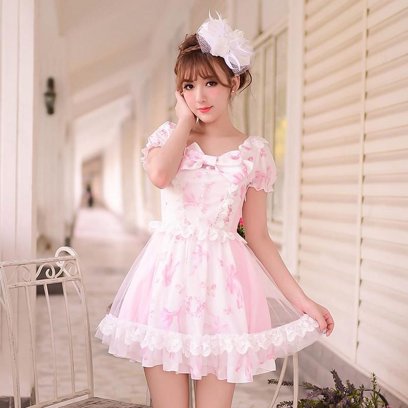Princess sweet lolita dress Candy rain Summer Japanese style sweet bow printing chiffon princess dress WL112Одежда и ак�е��уары<br><br><br>Aliexpress