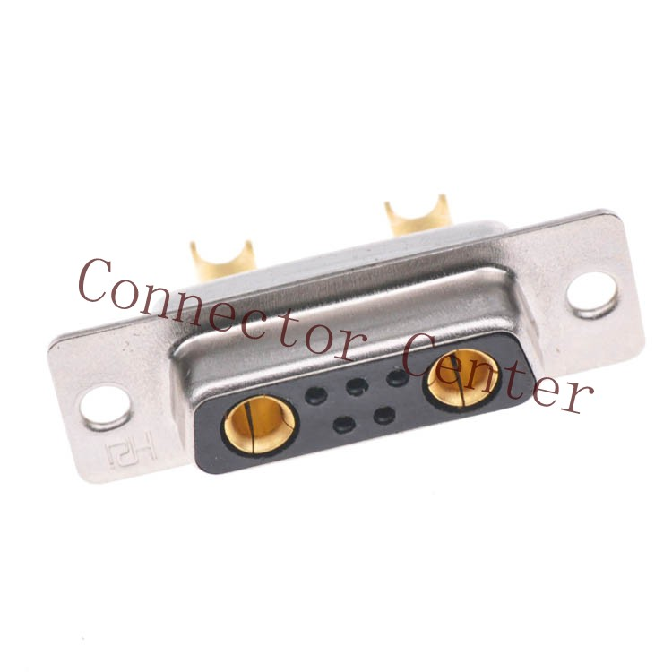 High Power 7W2 Female  Solder Type D-sub Connector Machined Pin Full Gold Flash Wire Type