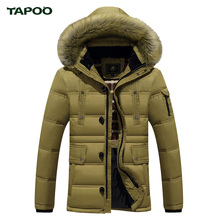 Down Coats Men Parkas Winter Warm Thick Jackets And Coats With Fur Hood TAPOO Original Brand Clothing Duck Down High Quality(China (Mainland))