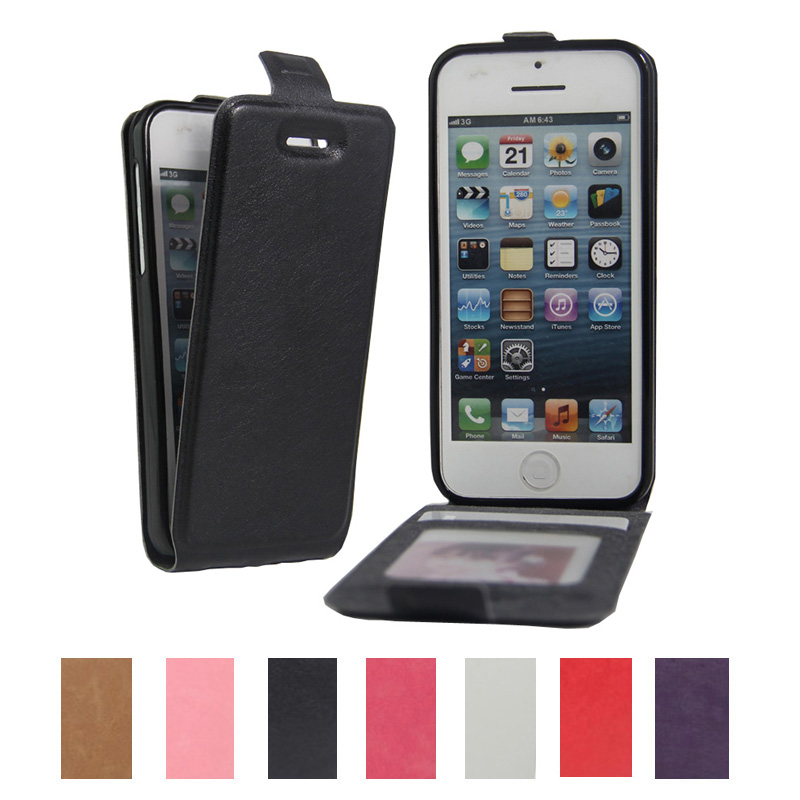 Retro PU Leather Filp Cover Case for iPhone SE 5S 5G Luxury Vertical Magnetic Flip Phone Case With Photo Frame(China (Mainland))