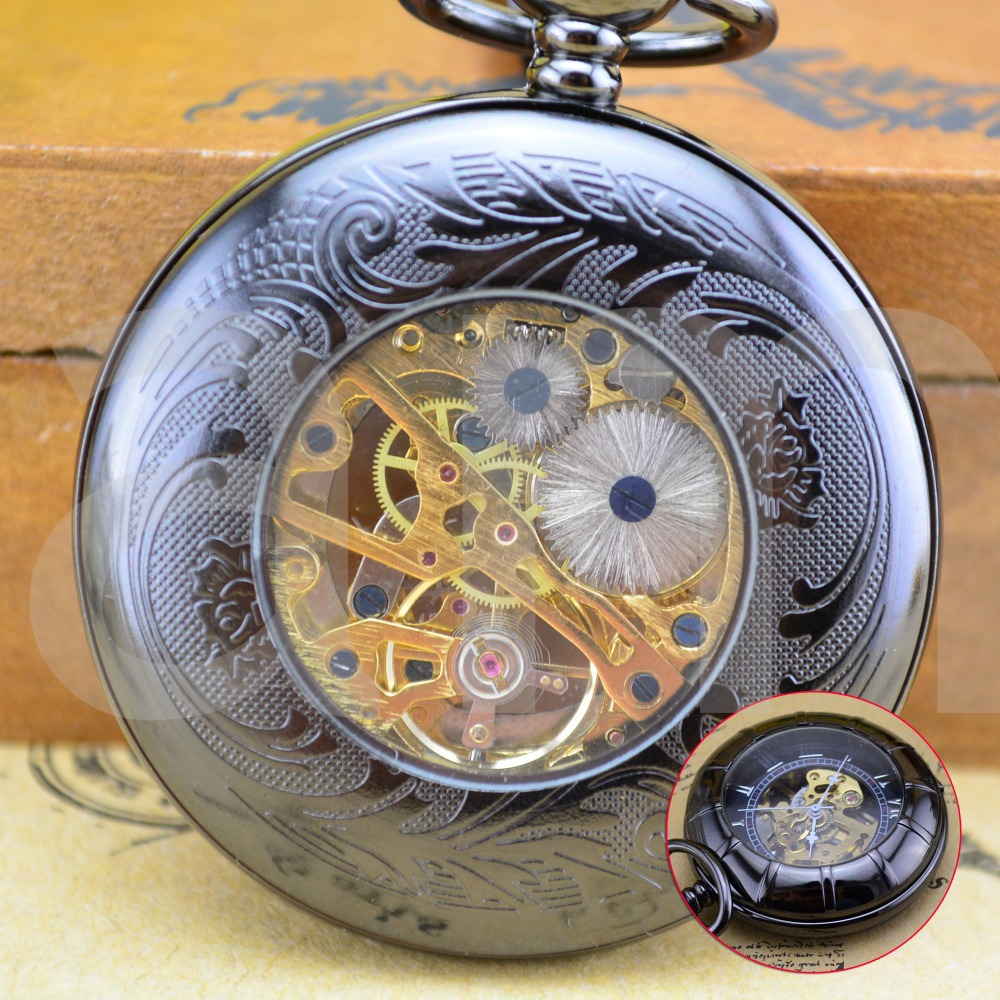 Dark Copper Skeleton Mechanical Pocket Watch Semi transparent Steampunk Antique Skeleton Mechanical Hand winding Pocket Watch