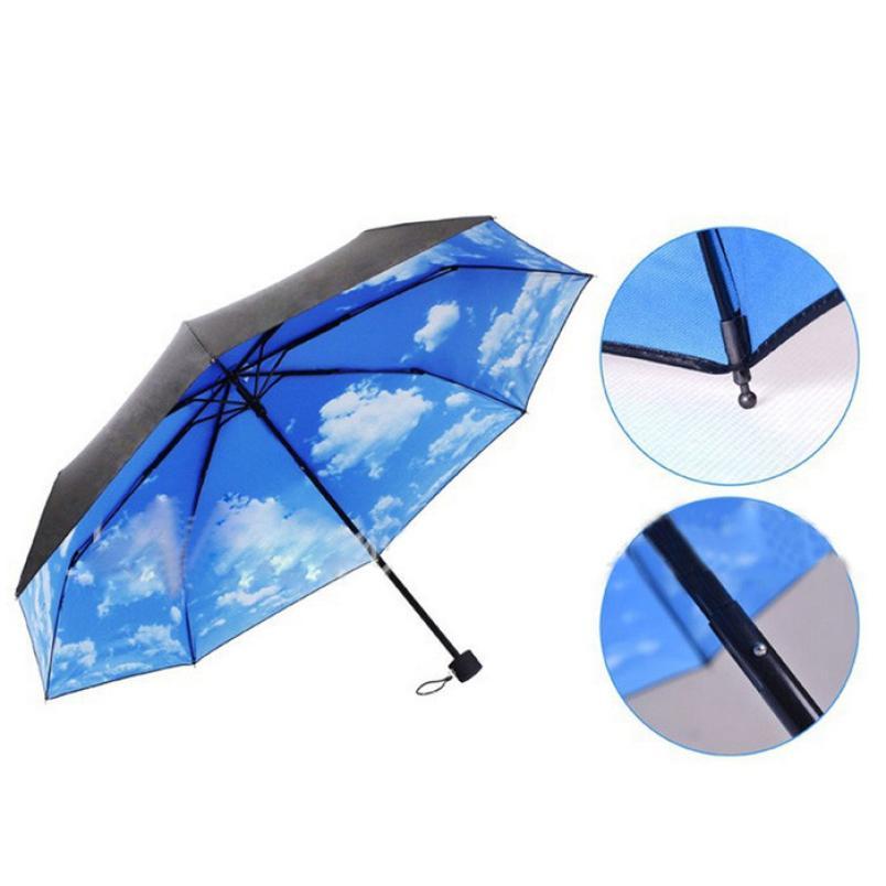 Super Deal The Super Anti-uv Sun Protection Umbrella Blue Sky 3 Folding Gift Parasols Rain Umbrellas For Women Men Free Shipping(China (Mainland))