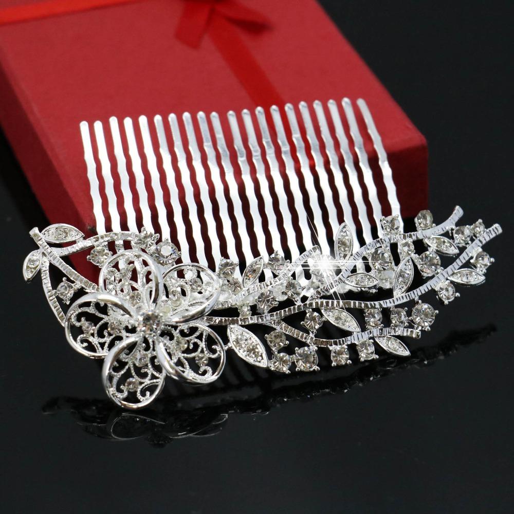 Trendy Women Bridesmaid Wedding Hair Accessories Plum Blossom Shape Hair Comb Tiara Drop Rhinestone Bridal Jewelry 102*65cm(China (Mainland))