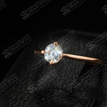 18K Rose Gold Plated TOP quality Classic 4 Prong Sparkling Solitaire 1ct CZ Wedding Rings Women