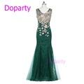 Doparty XS1 Kaftan 2016 Elegant Long Sleeveless Blue Luxury Crystal Red Floor Length Lace Mermaid Green