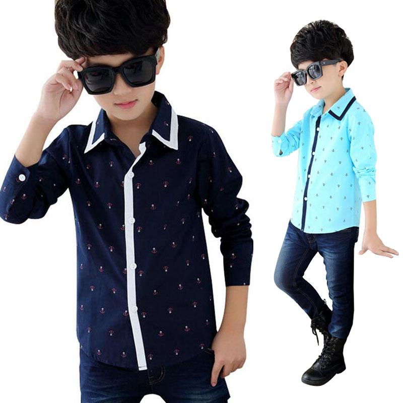 Fashion Boys Shirts 2016 Spring Brand Anchor Design 3-12 Years Children Long Sleeve Top Kids Dress Shirt Boy Tops(China (Mainland))