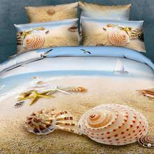 4 Pieces Per Set Beautiful Beach Scene 3D Bed sheet  Set(China (Mainland))