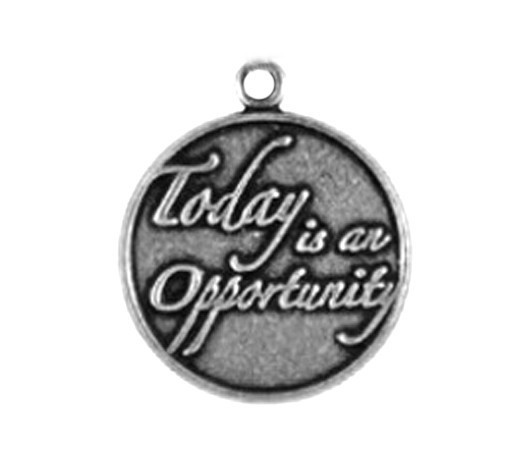 "Positive Energy Anti-Silver Engravable Alphabet Letter ""today is an opportunity"" Charms For Bracelets(China (Mainland))"