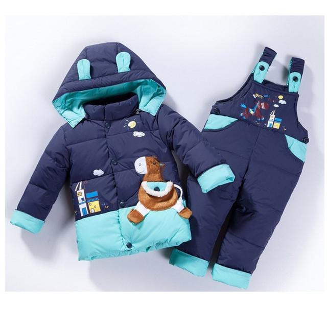 Ребенок дети мальчики девочки зима теплый пуховик костюм комплект толстый слой + комбинезон детская одежда установить дети куртка животное лошадь рыбы