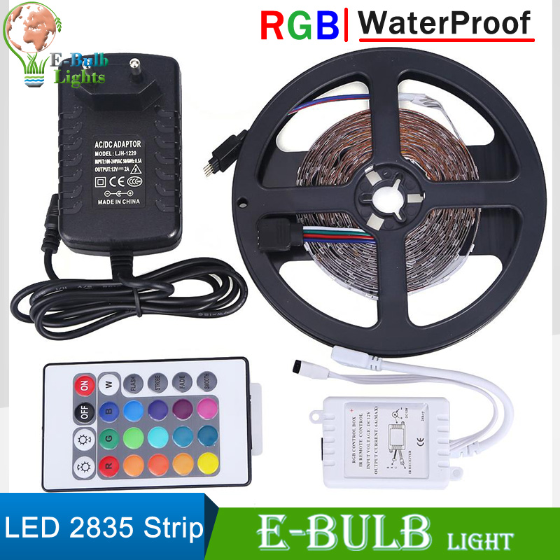 1 set rgb led strip waterproof 5m 300leds smd2835 flexible. Black Bedroom Furniture Sets. Home Design Ideas