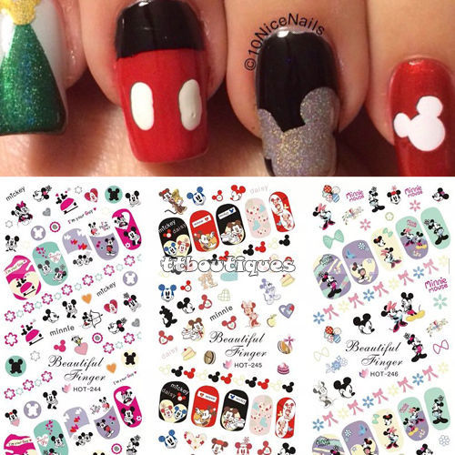 Minnie mouse nail art decals minnie mickey mouse nail art decals view images hot sale in water transfer decal stickers nail art prinsesfo Choice Image
