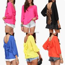 Plus Size 2015 Fashon Women Blouse Casual Autumn Summer Loose Backless Bow Leopard Printed Chiffon Shirt Bloues Blusas Femininas(China (Mainland))
