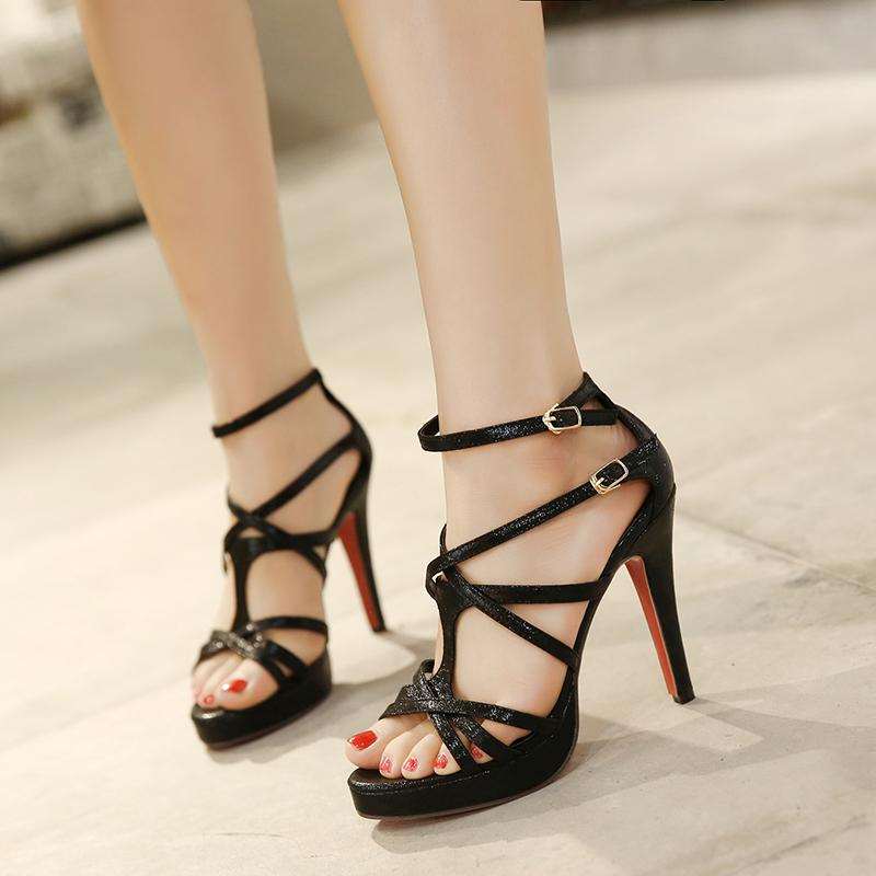 Women black/silver bandage summer sandals high quality sexy high heel sandals women summer party shoes big size 34-39(China (Mainland))