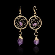 SEDmart Amethyst Irregular Raw Natural Stone Dream Catcher Circular Net With Rock Purple Crystal Gold Plated Dangle Earrings(China (Mainland))