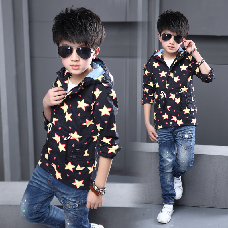 2016 Spring Boys Jacket Coat  Fashion New Brand Hooded Print Five-stars Outwear Coats Casual Long-sleeved  Childrens Clothing <br><br>Aliexpress
