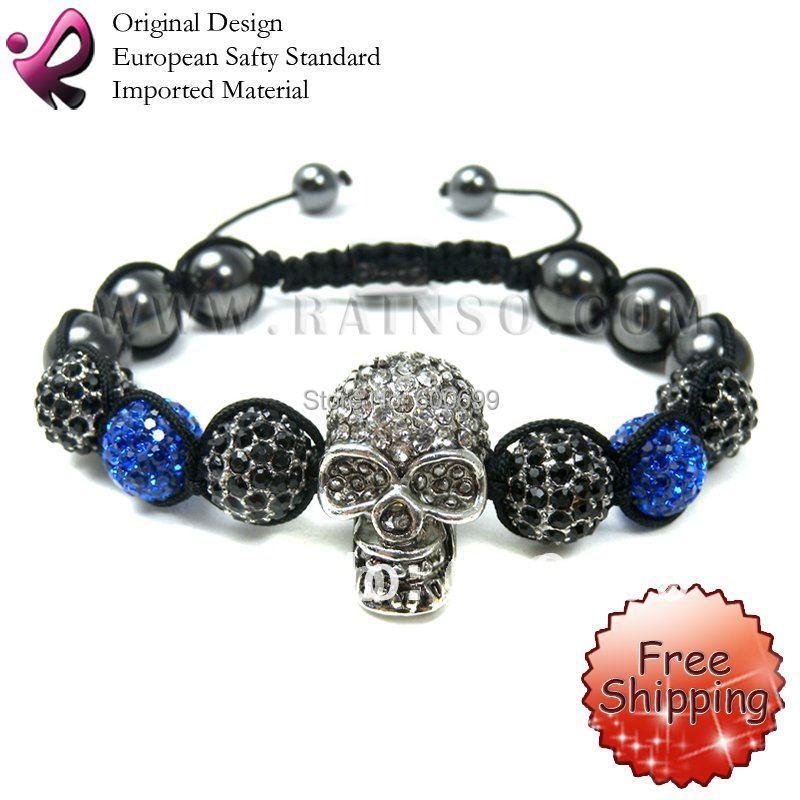 FREE SHIPPING Rainso Crystal Skull Bracelet Shamballa Bracelets skull rhinestone gift SHA-222BSBl-01(China (Mainland))
