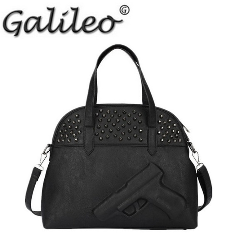 2015 3D Gun bag Famous brand women shoulder bags leather rivet messenger bag ladies for women crossbody bag(China (Mainland))