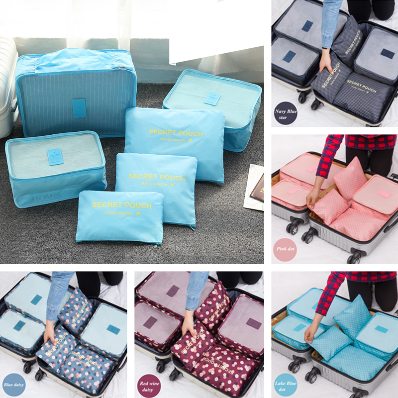 Waterproof 6 Pcs Brand Travel Storage Bag Set For Clothes Tidy Organizer Pouch Suitcase Home Closet Divider container Organiser(China (Mainland))