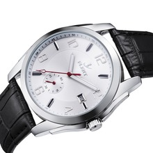Men Classical Mechanical Wrist Watch Auto Date Leather Strap Automatic Analog Watches