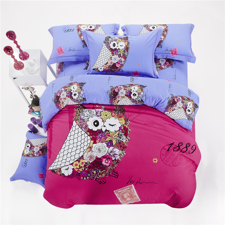 colorful Owl cartoon bedding set queen king size,4pcs duvet cover sets/5pcs comforter/quilt/blanket set, thick Cotton Fabric(China (Mainland))