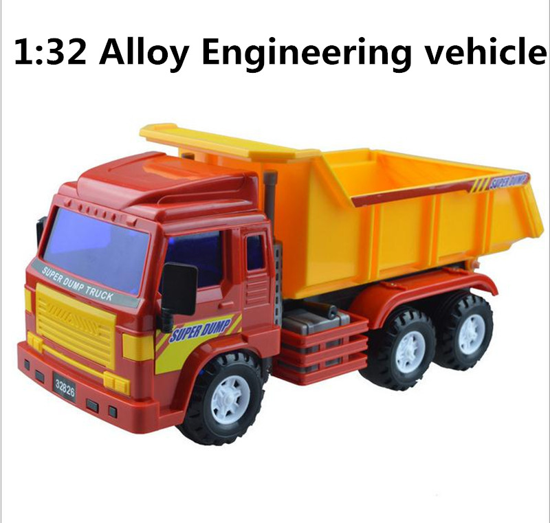 1:32 alloy construction vehicles, dump trucks high simulation model, metal casting, sliding puzzle toys, free shipping(China (Mainland))