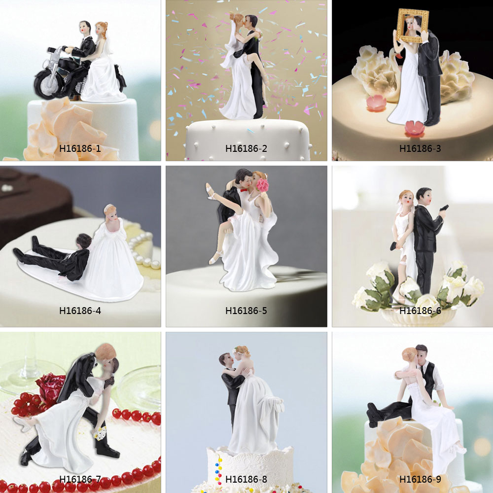 High Quality Synthetic Resin Bride & Groom Wedding Cake Topper Romantic Wedding Party Decoration Adorable Figurine Craft Gift(China (Mainland))