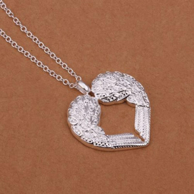 Women Jewelry Unique Angel Wing Heart Pendant Silver Plated Necklace Valentine Gift or an lovely collection(China (Mainland))