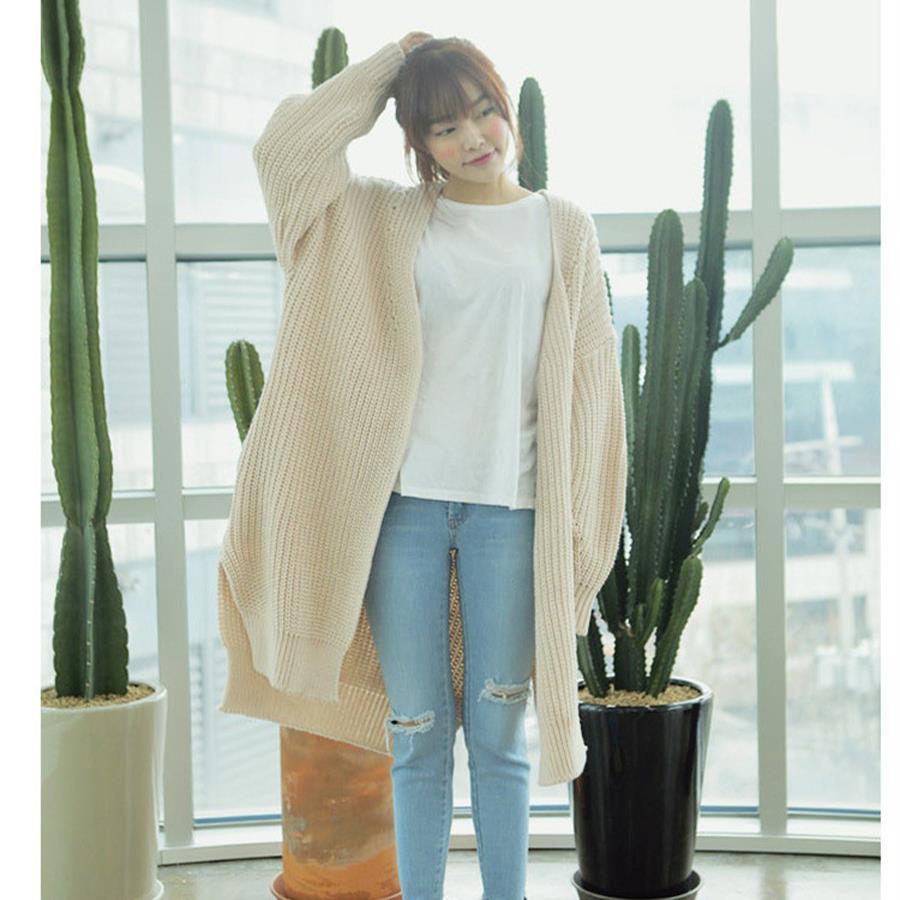 gray beige split cardigan women sweater casual crochet. Black Bedroom Furniture Sets. Home Design Ideas