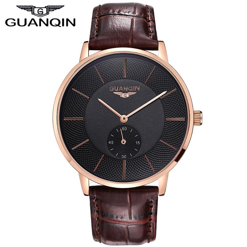 Original Brand GUANQIN business watch Men genuine Leather Strap Quartz Watches Fashion Men's Sports Watch male Casual clock hour(China (Mainland))