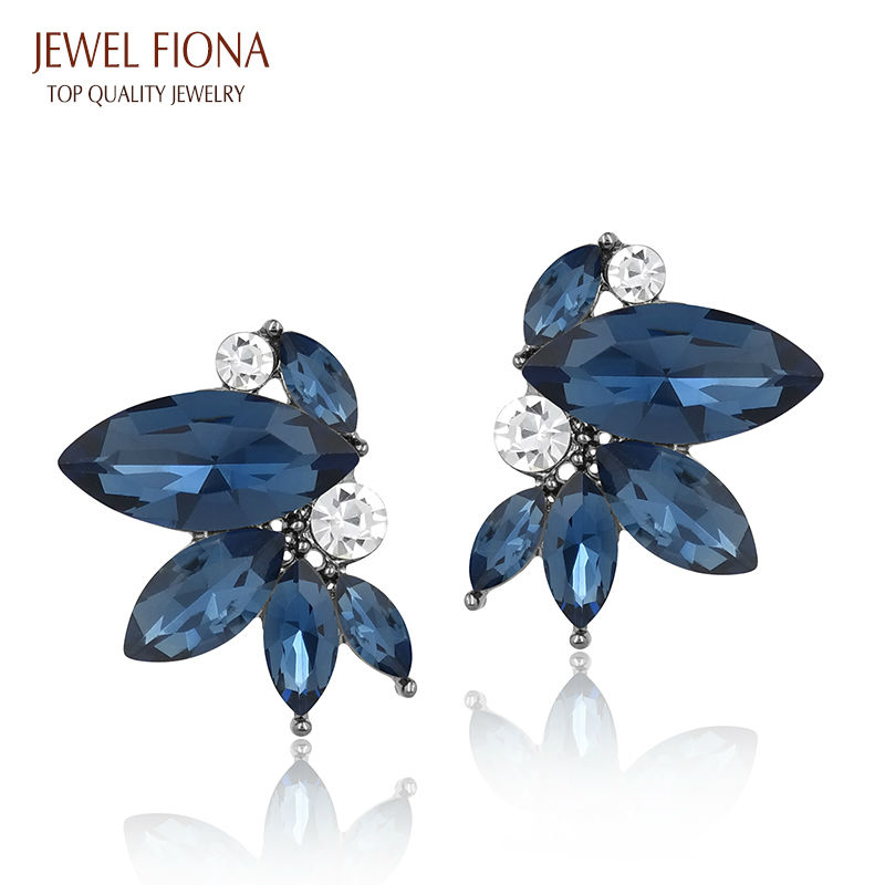 12 Colors, Symmetrical Two Girls Dancing High Quality Crystal Stud Earrings for Woman Fashion Jewelry Wholesale(China (Mainland))