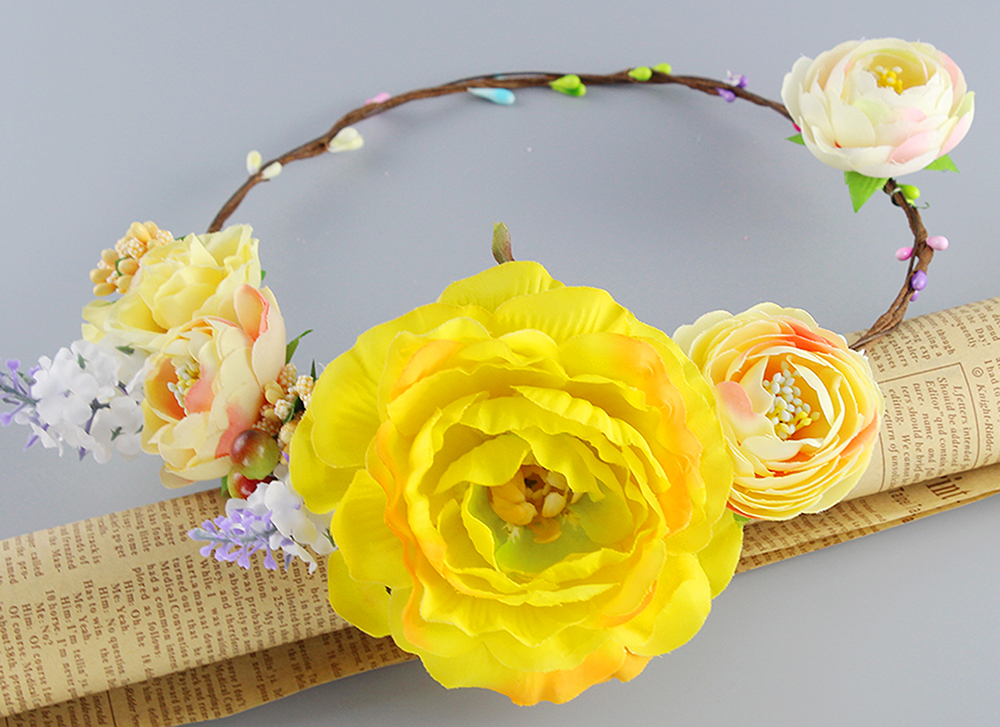 Yellow color Wedding Bridal Flower Hair Accessory Big Flower Tiaras Fabric Flower Crowns Handcrafted Woman Girls Flower Garland(China (Mainland))