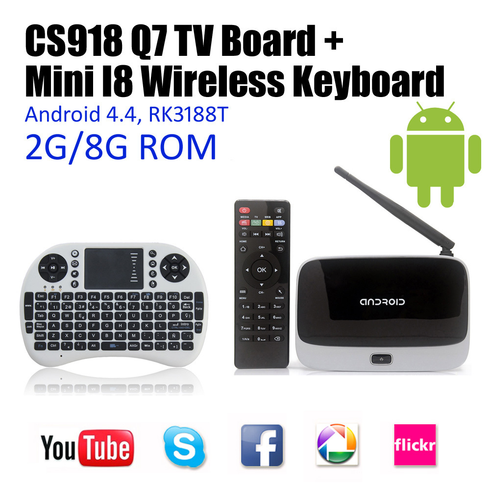High quality Android 4.4 TV Box Media Player Quad Core 2GB/8GB with Remote Control XBMC WiFi 1080P CS918 Tv Receivers hot sale(China (Mainland))