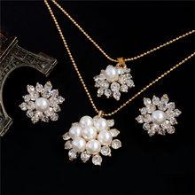 ZOSHI אלגנטי סימולציה פרל כלה תכשיטי סטי תכשיטי חתונה עלה גביש זהב כסף מצופה שרשראות עגילי סטים(China)
