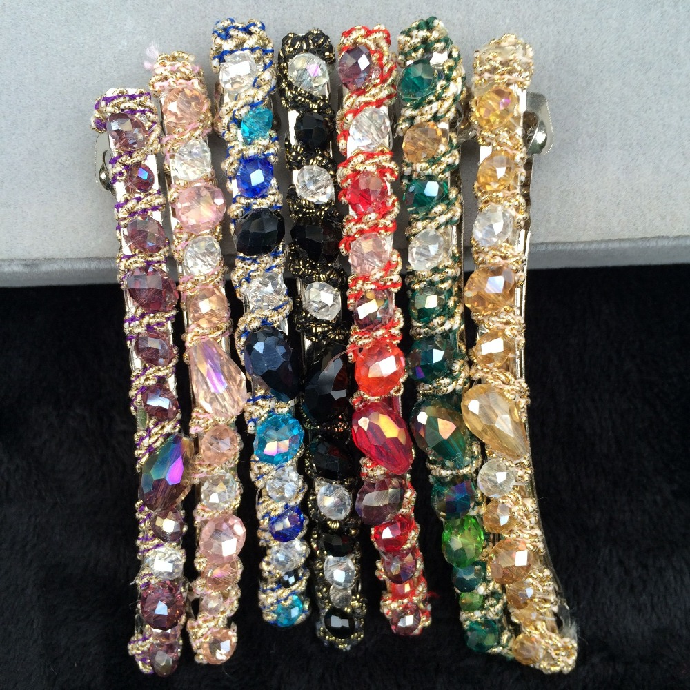 10PCs Wholesale Crystal Elastic Hair Bands Sparkling Glass Beads Hair Jewelry Vintage Style 2016 women Hair Accessories ts136(China (Mainland))