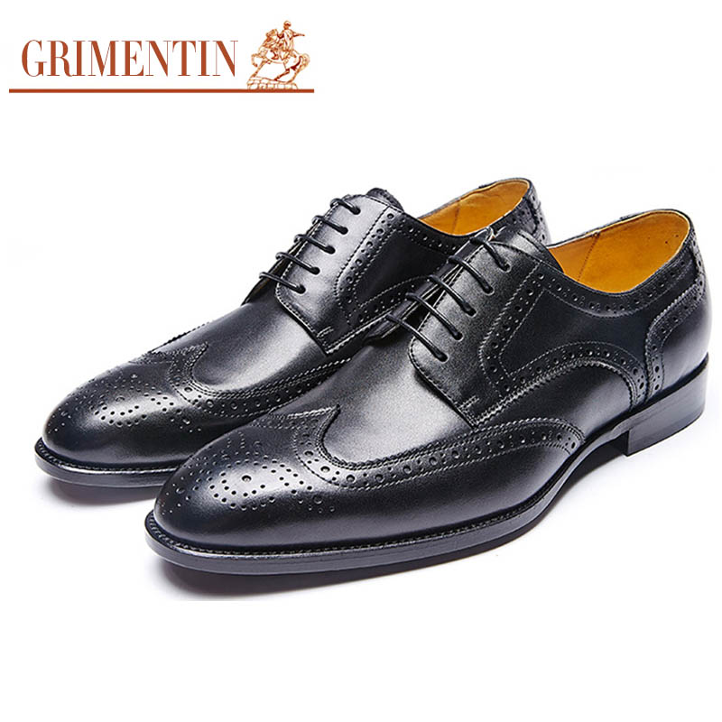 GRIMENTIN fashion manual customized mens shoes genuine leather comfortable luxury formal business men shoes flats for wedding G3(China (Mainland))